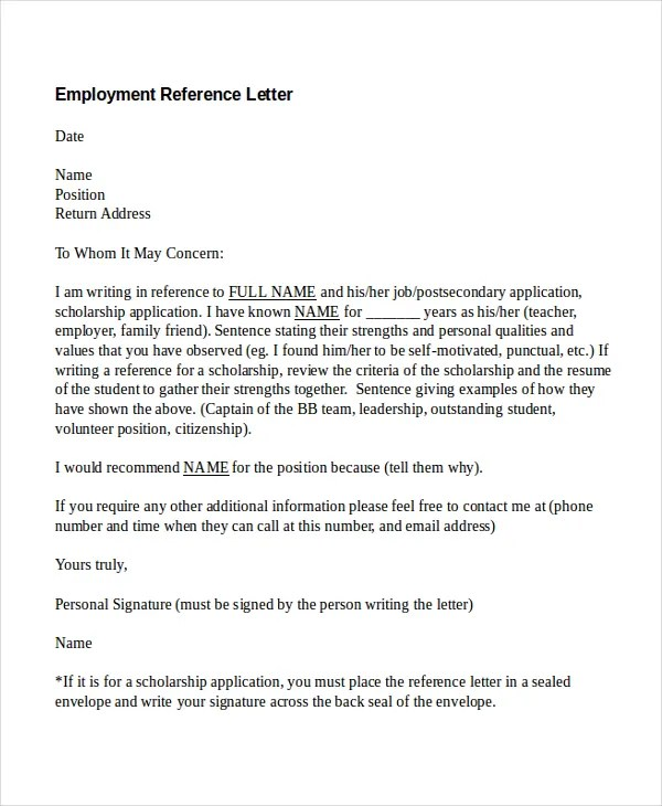 10+ Employment Reference Letter Templates - Free Sample, Example - free sample reference letter for employment