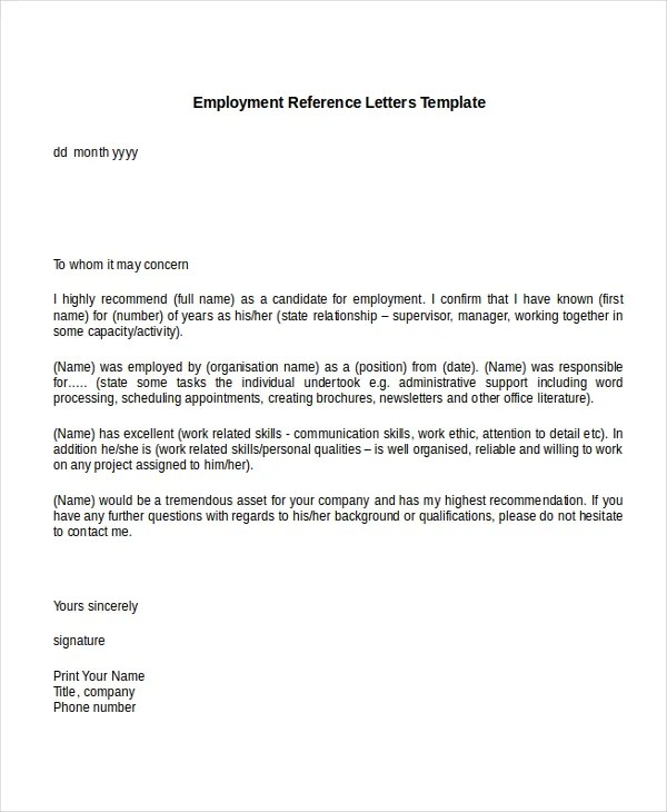 10+ Employment Reference Letter Templates - Free Sample, Example - Employee Letter Templates