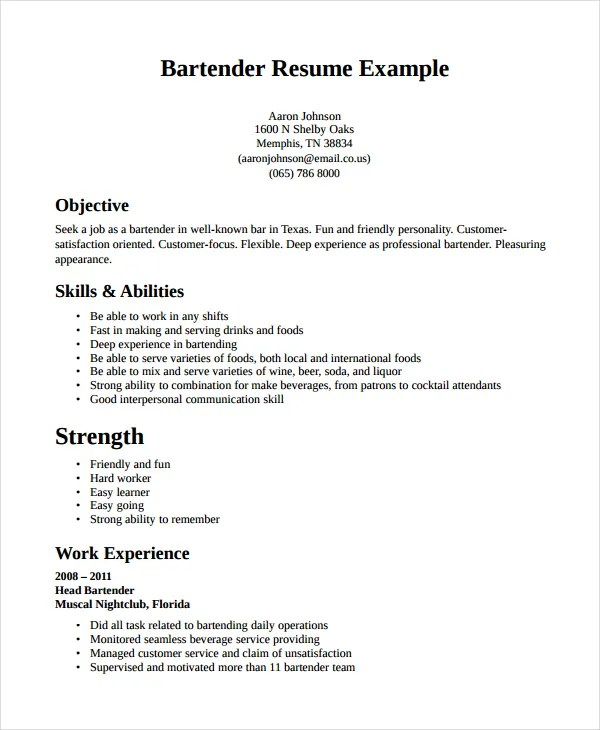Bartender Resume Template - 6+ Free Word, PDF Document Downloads - bartender resume