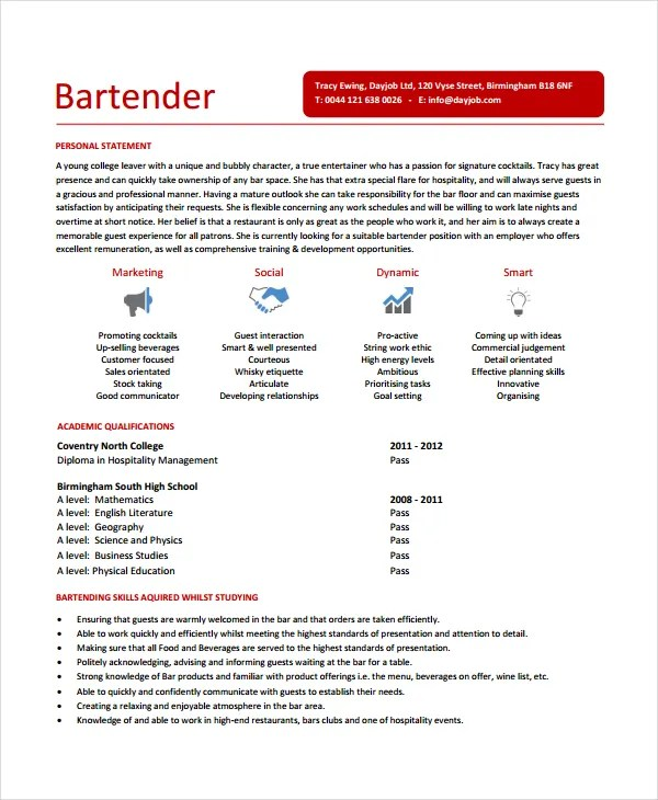 Bartender Resume Template - 6+ Free Word, PDF Document Downloads - bartender sample resume