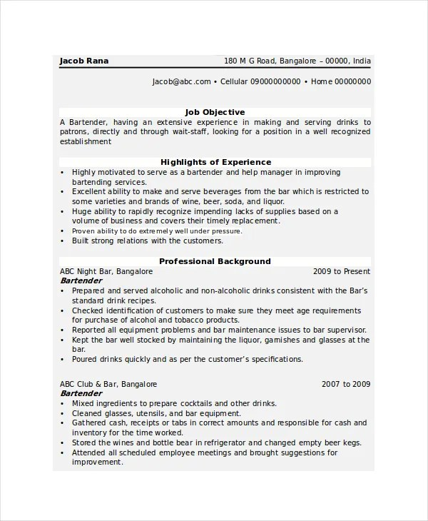 Bartender Resume Template - 6+ Free Word, PDF Document Downloads - bartender resume format