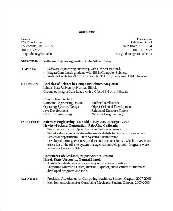 computer science resume templates - Funfpandroid - Computer Science Resume Template