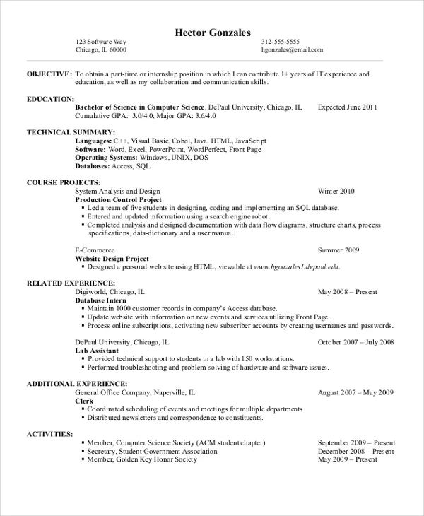 sample resume for computer science major