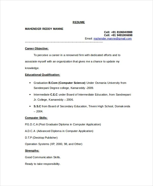 Resume Format For Computer Science Engineering Students Freshers 12+ Computer Science Resume Templates - Pdf, Doc | Free