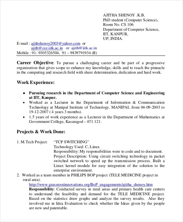 11+ Computer Science Resume Templates - PDF, DOC Free  Premium - Field Application Engineer Sample Resume
