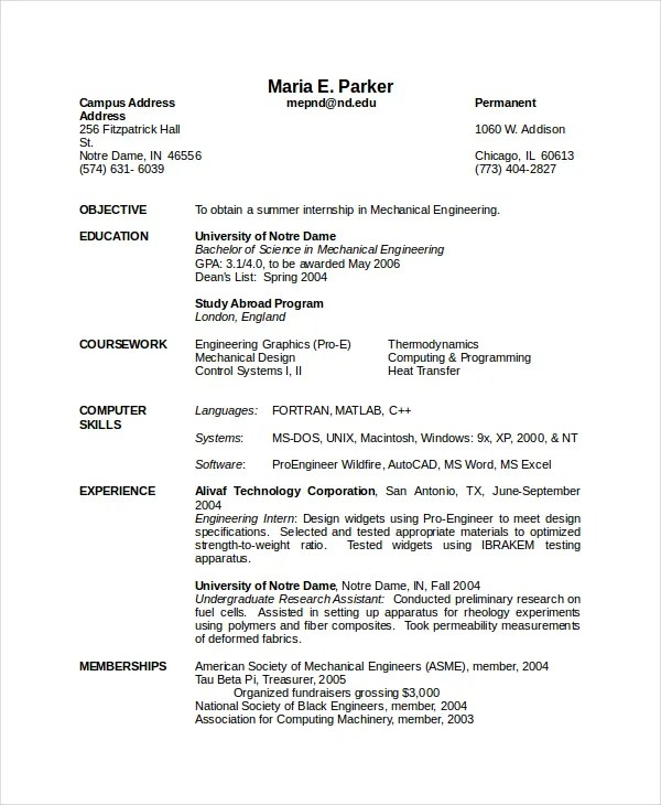 Mechanical Engineering Resume Template - 5+ Free Word, PDF Document - Engineer Resume Template