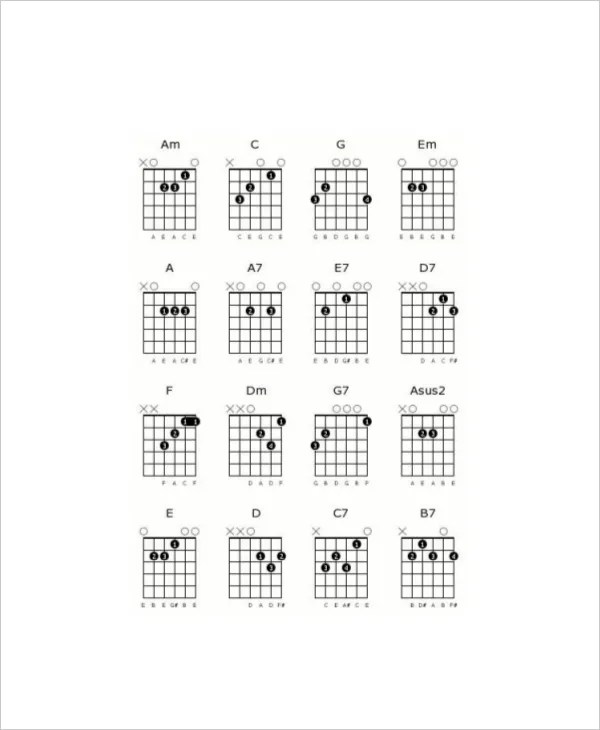 Guitar Chord Chart Templates 12 Free Word Pdf Printable Blank Guitar