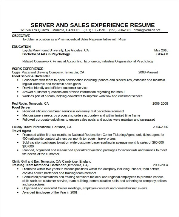 Waitress Resume Template - 6+ Free Word, PDF Document Downloads - Server Experience Resume Examples