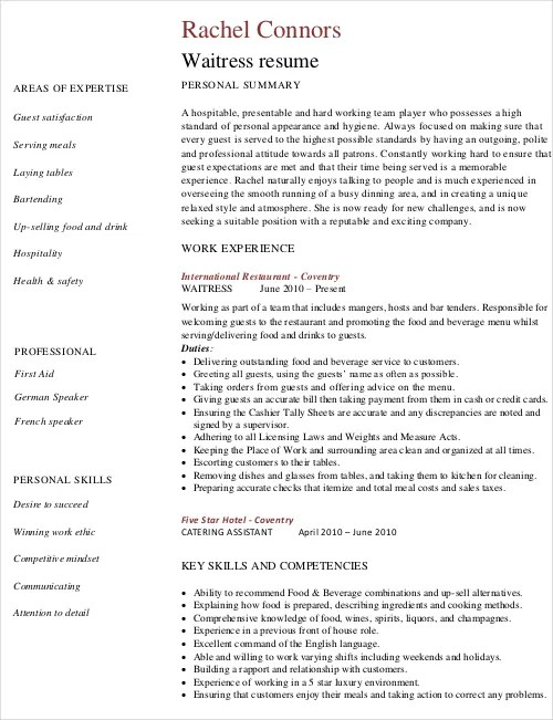 Waitress Resume Template - 6+ Free Word, PDF Document Downloads - Resume Template Waitress