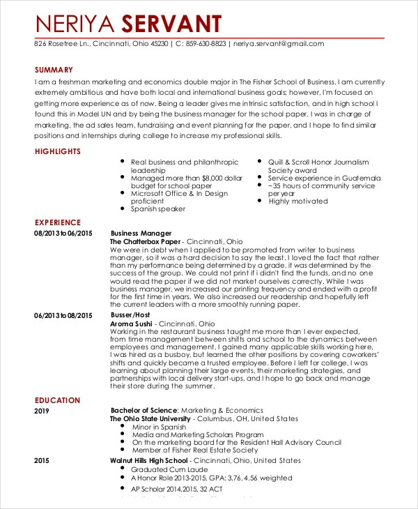 Resume Template For Waitress Waitress Resume Template - 6+ Free Word, Pdf Document