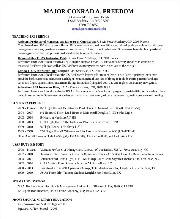 Pilot Resume Template - 5+ Free Word, PDF Document Downloads Free