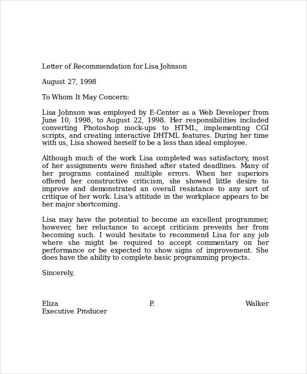 refrence letter examples - Towerssconstruction
