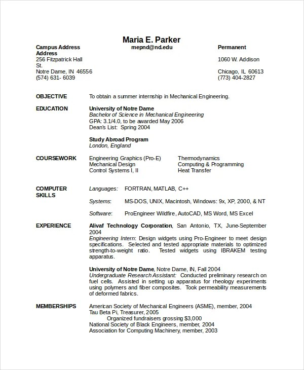 engineering resume template word - Onwebioinnovate
