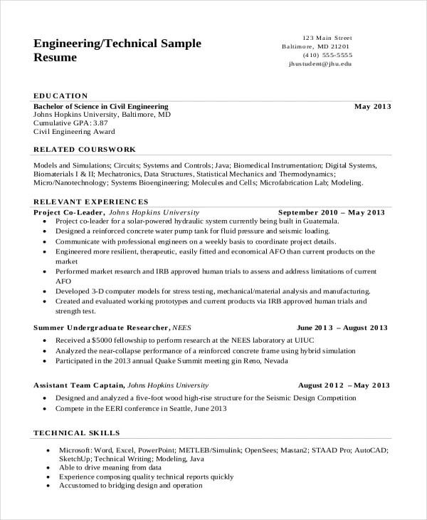 10+ Engineering Resume Templates - PDF, DOC Free  Premium Templates - sample technical resume