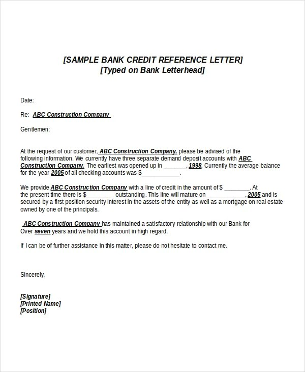 6+ Credit Reference Letter Templates - Free Sample, Example - reference letter