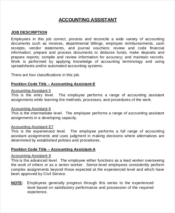 accounting description - Wwwfranklindes - Accounting Job Titles
