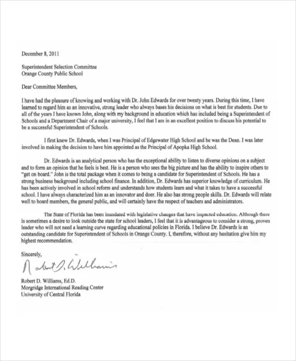 6+ College Reference Letter Templates - Free Sample, Example, Format