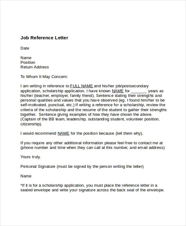 7+ Job Reference Letter Templates - Free Sample, Example, Format - job reference letter template