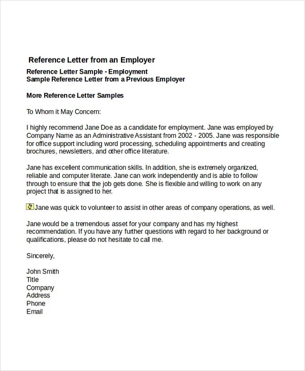 job reference letter template - Letters Of Reference Template