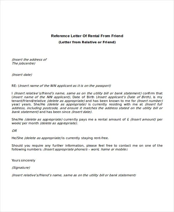 letter of recommendation for renting a house