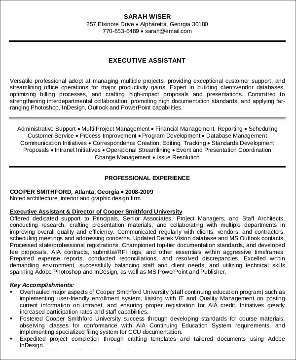 executive administrative assistant resume - Militarybralicious - admin assistant resume