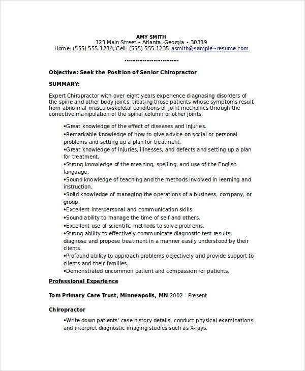 chiropractor resume templates