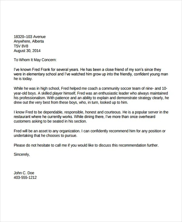 personal recommendation letter sample for immigration - Ozilalmanoof