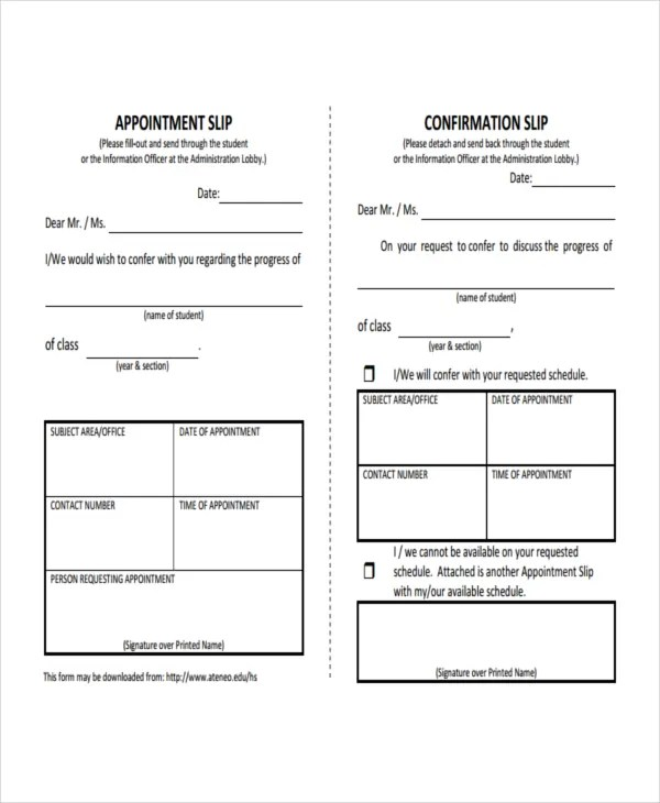 10+ Slip Templates - Free Sample, Example, Format Free  Premium