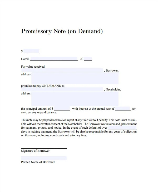 13+ Promissory Note Templates - Free Sample, Example, Format - promissory agreement template
