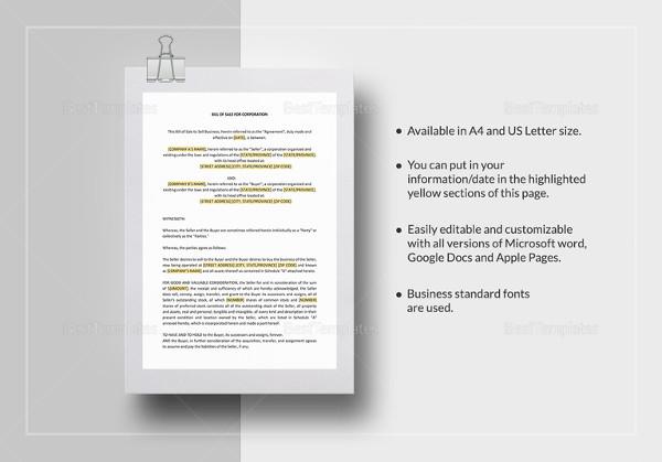 Generic Bill of Sale Template - 12+ Free Word, PDF Document - bill of sale word doc