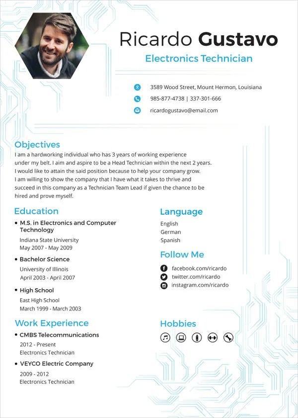 Electronics Resume Template - 8+ Free Word, PDF Document Downloads