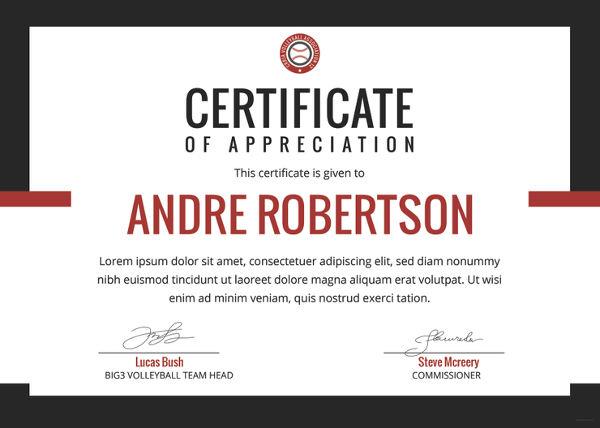 free appreciation certificate