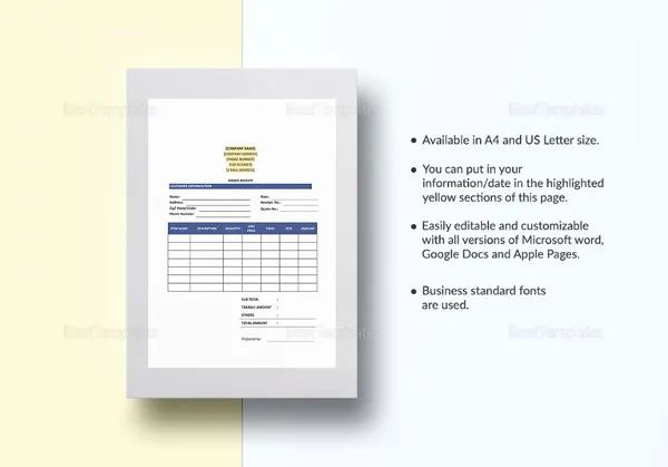 service receipt template word