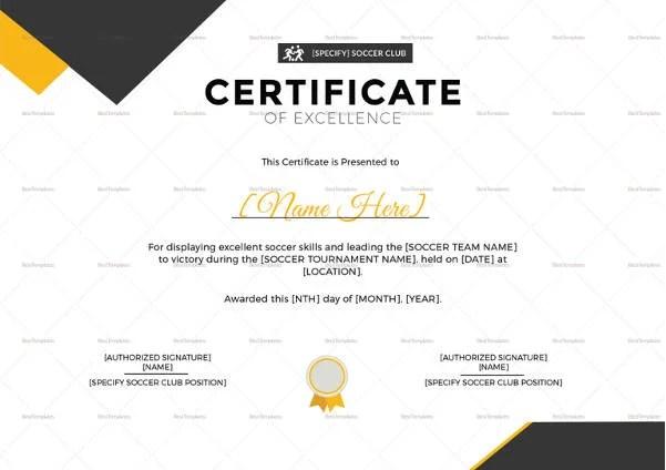 Soccer Certificate - 15+ Word, PSD Format Download Free  Premium