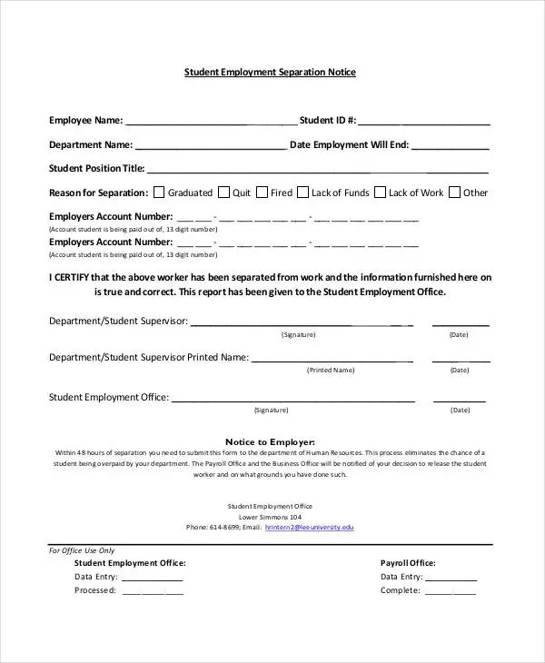 14+ Separation Notice Templates - Google Docs, MS Word, Apple Pages