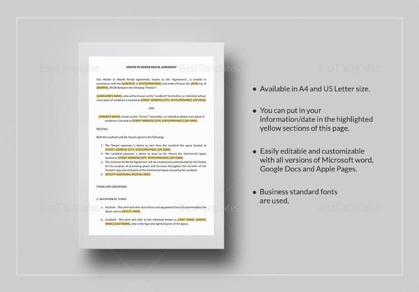 Printable Rental Agreement - 13+ Free Word, PDF Documents download - printable rental agreement