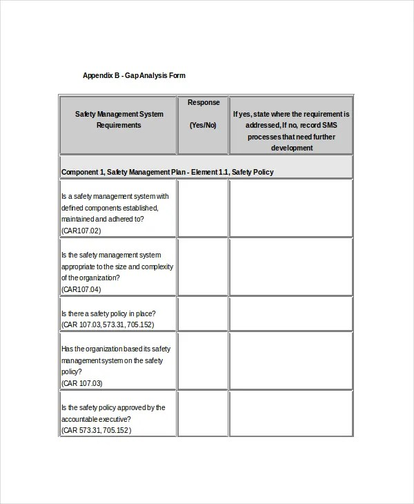 7+ Safety Gap Analysis Templates - Free Sample, Example, Format - Management Analysis Sample