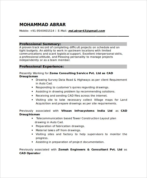 7+ Draftsman Resume Templates - Free Word, PDF Document Downloads - Telecommunication Resume Sample