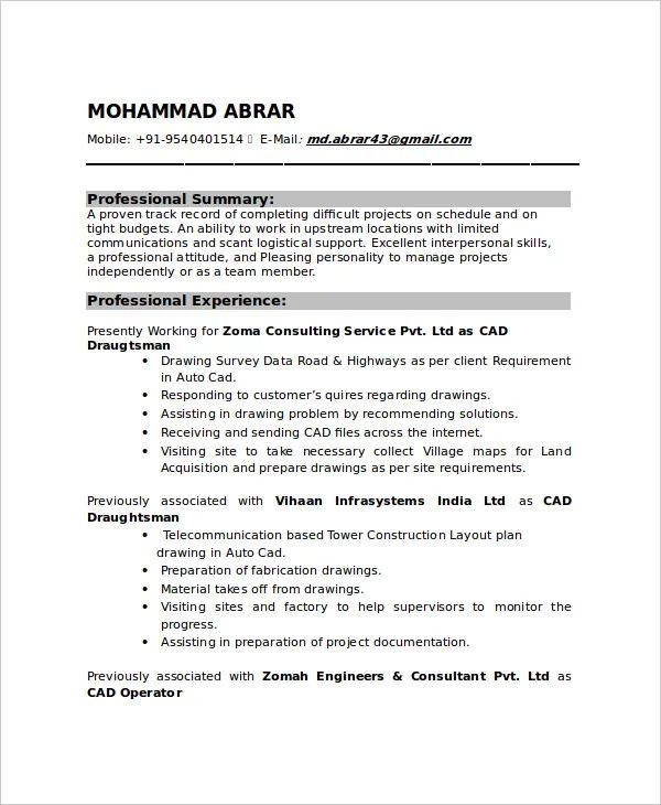 mechanical draftsman resume templates