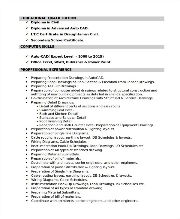7+ Draftsman Resume Templates - Free Word, PDF Document Downloads - cad drafter resume