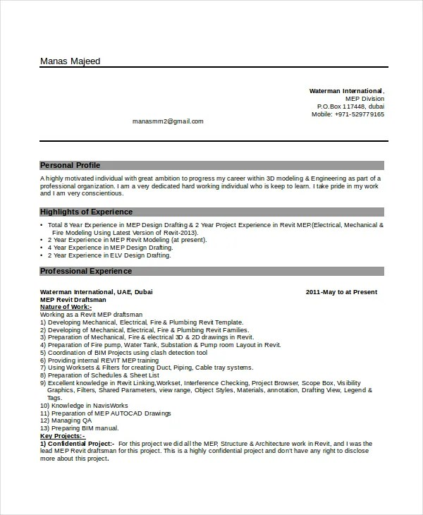 7+ Draftsman Resume Templates - Free Word, PDF Document Downloads - draftsman resume