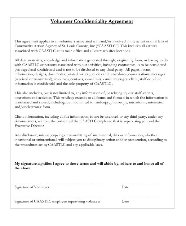 17+ Confidentiality Agreement Templates - Free Sample, Example - confidentiality agreement free template