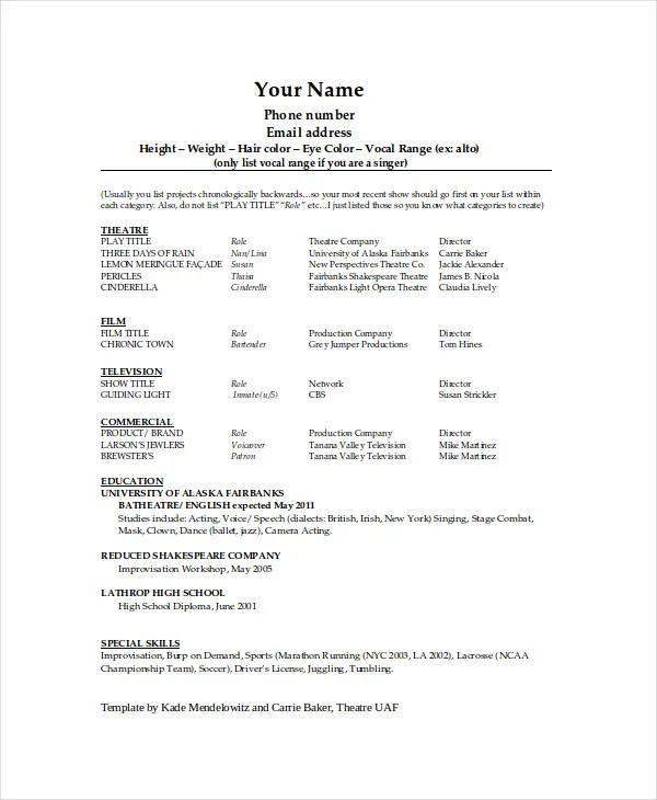 Theater Resume Template - 6+ Free Word, PDF Documents Download - templates of resumes