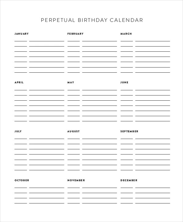 Perpetual Calendar - 11+ Free PDF, PSD Documents Download Free - perpetual calendar templates