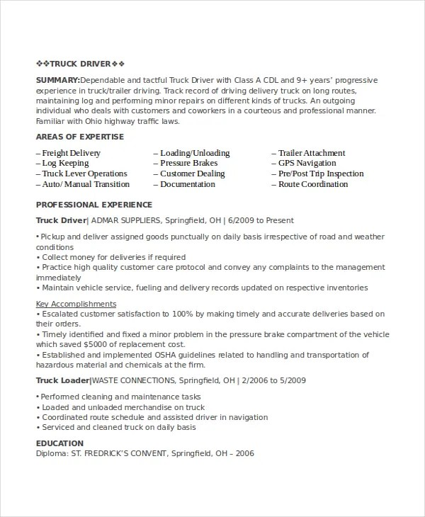 Driver Resume Template - 8+ Free Word, PDF Document Downloads Free - truck driver resume samples