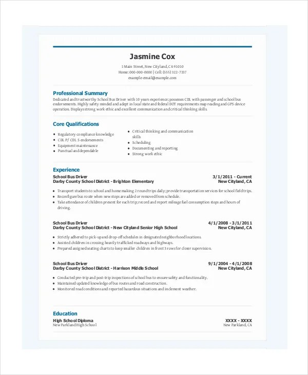 Driver Resume Template - 8+ Free Word, PDF Document Downloads Free - bus driver resume
