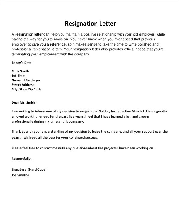 Resignation Letter - 22+ Free Word, PDF Documents Download Free