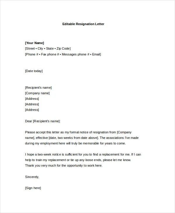 Resignation Letter Doc Download – Resignation Letter Ireland