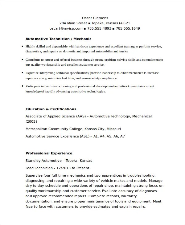 diesel mechanic resume resume examples success auto mechanic sample mechanic resume drawings from - Auto Mechanic Resume