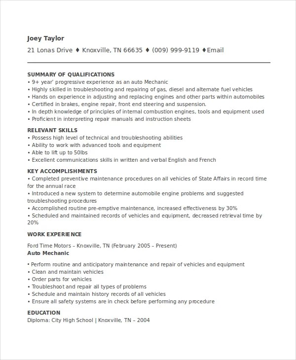 mechanic resumes templates - Kordurmoorddiner